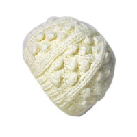 CREAM BOBBLE AND RIB KNIT BEANIE HAT