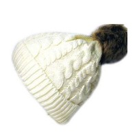 White Cuffed Twist Cable Knit Fur Brown Pom Pom Beanie Hat