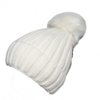 White Cuffed Twist Cable Knit Fur White Pom Pom Beanie Hat