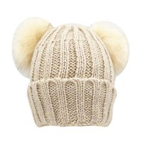 Inspired Beige Rib Beanie Hat with Double Faux Fur Pom Poms