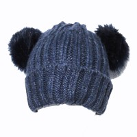 Navy Rib Beanie Hat with Double Faux Fur Pom Poms
