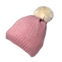 Pink Cable Knit Fur Pom Pom Beanie Hat
