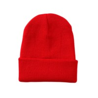 Solid Red Knit Beanie Hat
