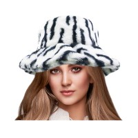 Super Stylish Zebra Fluffy Faux Fur Bucket Hat