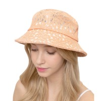 Peach Floral Laced Bucket Hat