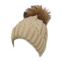 Beige Cuffed Cable Knit Real Fur Pom-Pom Beanie Hat
