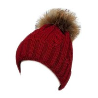 New Red Cuffed Cable Knit Real Fur Pom-Pom Beanie Hat