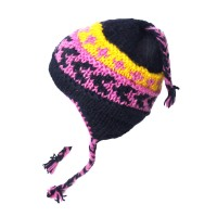 Nepal Hand Knit 100% Wool Purple Blue Ear Flap Braided Kids Hat