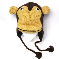 Nepalese Hand Knit Monkey 100% Wool Hat