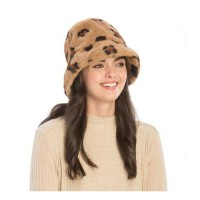 Brown Leopard Faux Fur Bucket Hat