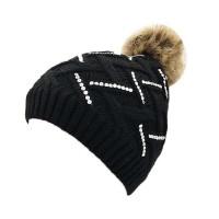 Black Zig Zag Crystal Cable Knit Fur Pom Pom Beanie