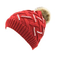 Red Zig Zag Crystal Cable Knit Fur Pom Pom Beanie Hat