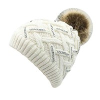 WHITE ZIG ZAG CRYSTAL CABLE KNIT FUR POM POM BEANIE HAT