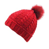 Red Cuffed Twist Cable Knit Fur Pom Pom Beanie Hat
