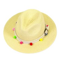 Pom Pom Braided Buckle Trim Fedora Strae-Hat