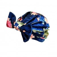 Romantic Blue Floral Velvety Bow Turban Hat