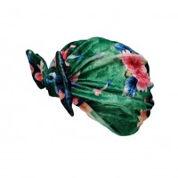 Romantic Green Floral Velvety Bow Turban Hat