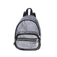 Super Cool Modern Gray Glittering Leather Backpack