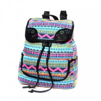 Fuchsia Boho Geometric Backpack Bag