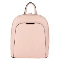 Modernistic Pink Double Zipper Strap Vegan Backpack Bag