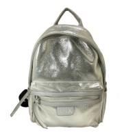 Shimmering Silver Strap Leather Backpack Bag