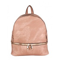 Blush Pink Double Zipper Strap Leather Backpack Bag