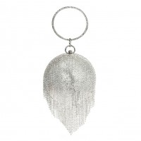 Dazzling Silver Disco Ball Cascading Minaudiere Evening Case Purse Bag
