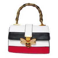 White Stripe Pearly Butterfly Bamboo Top Handle Satchel Bag