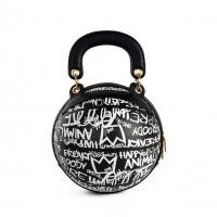 Fashion Black Multi Graffiti Print Basketball Top Handle Shoulder Bag