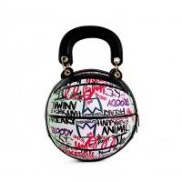 Fashion Pink Multi Graffiti Print Basketball Top Handle Shoulder Bag