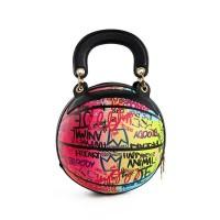 Fashion Red Multi Graffiti Print Basketball Top Handle Shoulder Bag
