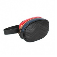 Modernistic Black Quilted Multi Oval Belt Bag