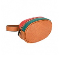Modernistic Brown Quilted Multi Oval Belt Bag