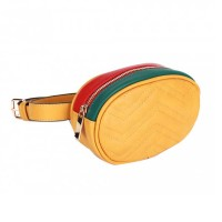 Modernistic Mustard Yellow Quilted Multi Oval Belt Bag