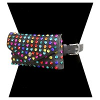 Glittering Multi Color Studs Clutch Belt Bag Fanny Pack