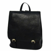 Black Modern Buckle Strap Leather Backpack