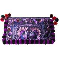 Colorful Boho Regal Purple Floral Embroidery Pom Pom Clutch Bag