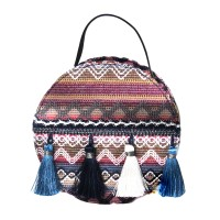 Blue Boho Embroidery Tassel Bag