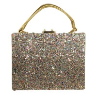 Shimmering Glitters Top Handle Evening Purse Case Bag