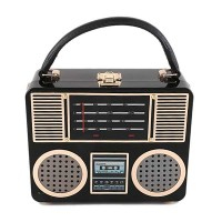 Designer Inspired Jazzy Glossy Black Boom Box Novelty Shoulder Bag
