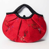 Handmade Floral Red Silk Brocade Satchel