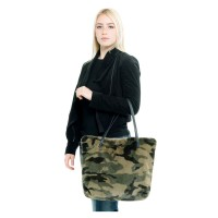 Versatile Camouflage Furry Tote Bag