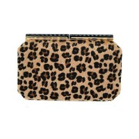 Brown Leopard Print Faux Fur Clutch Bag