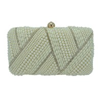 GORGEOUS CREAM PEARLY RHINESTONE MINAUDIERE CASE CLUTCH PURSE BAG