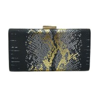 Glamorous Gold Black Snake Print Clutch Case Evening Bag