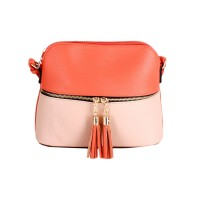 Stunning Orange Light Pink Tassel Crossbody Bag