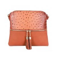 Gorgeous Brown Ostrich Textured Crossbody Bag