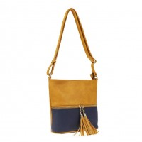 Stunning Camel Navy Tassel Crossbody Bag