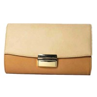 Beige Block Two Tone Chain Cross Body Clutch