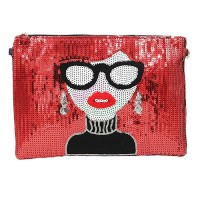 Glittering Red Face Sequins Clutch Bag